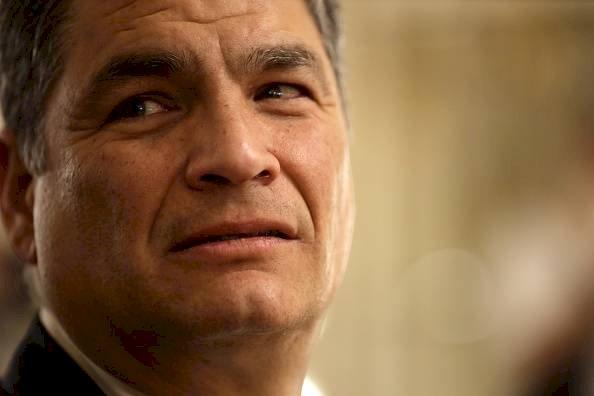 El ex presidente de Ecuador, Rafael Correa, durante la recepción de líderes extranjeros en el Salón Blanco de la Casa Rosada