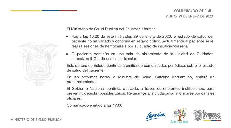 El Ministerio de Salud Pública de Ecuador emitió un comunicado a las 17:00 de este miércoles 29 de enero
