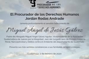 Muere papá del juez Gálvez
