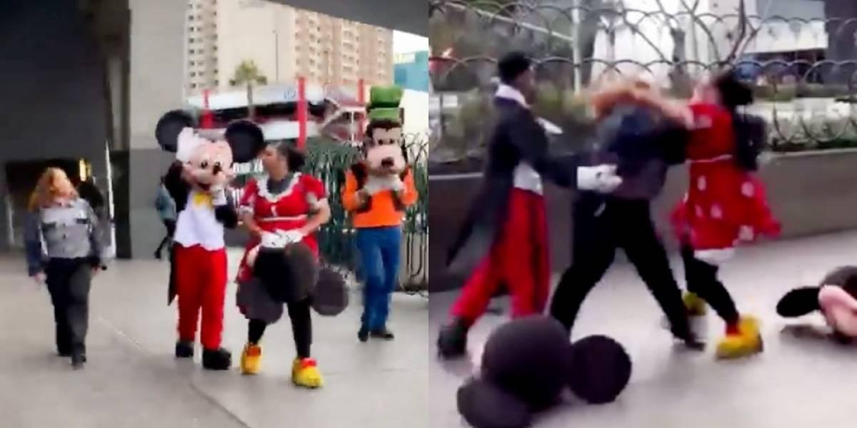 Rinha da Disney? Mulher vestida de Minnie inicia briga; Mickey e Pateta apartam
