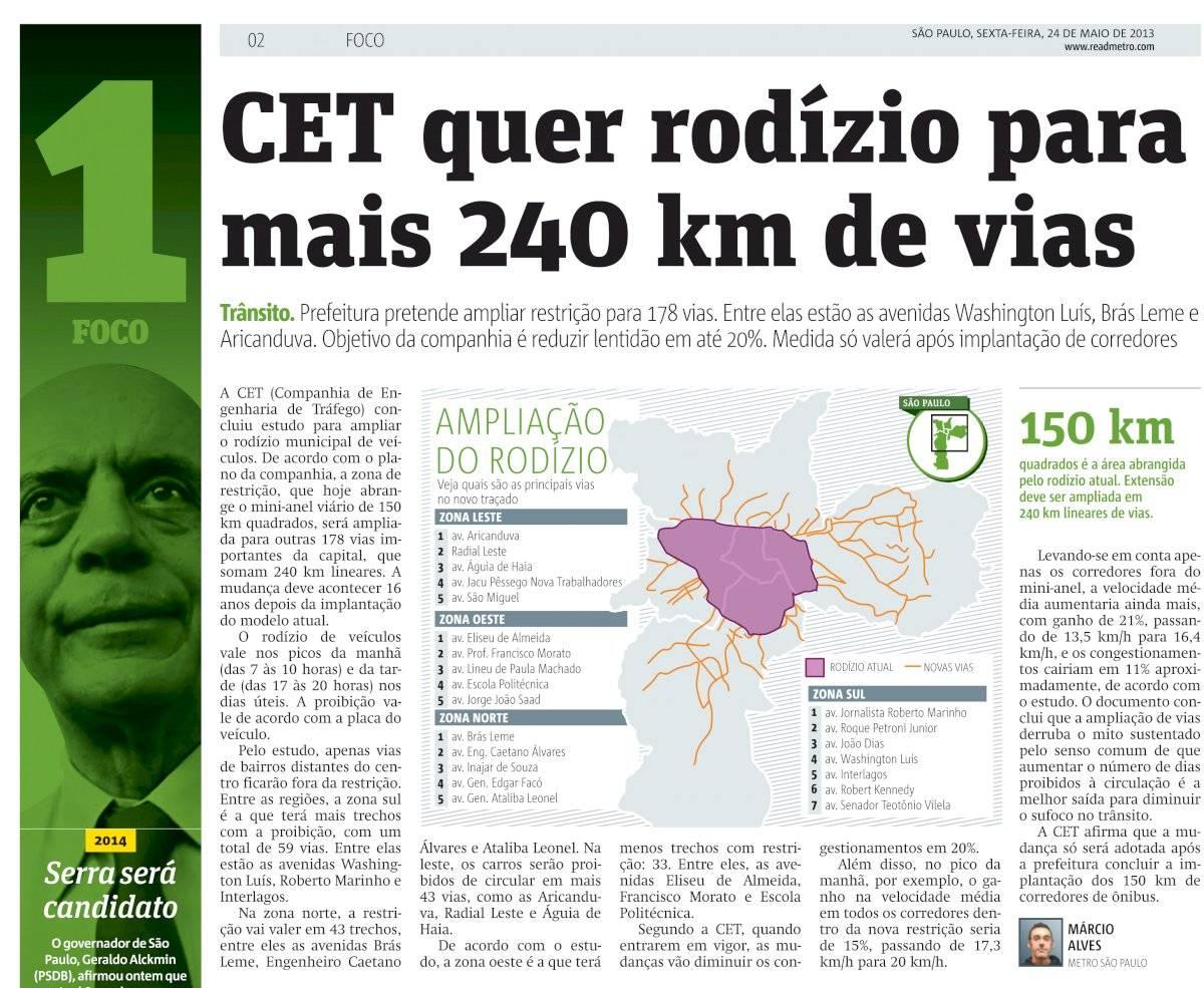 Metro Jornal - matéria rodízio - 2013
