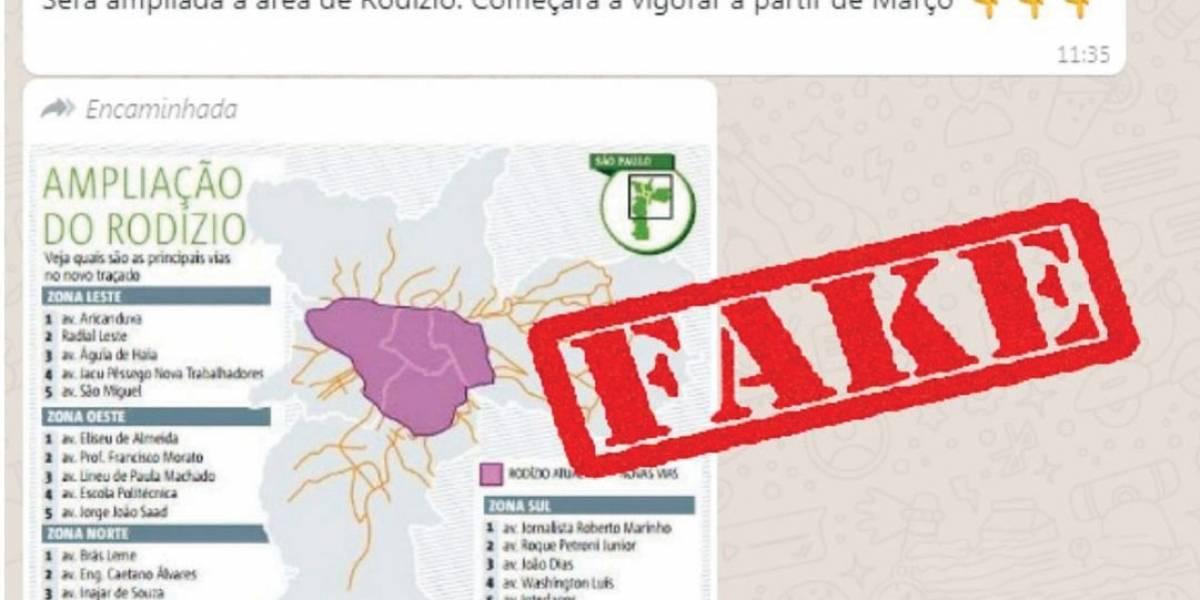 Ampliação do rodízio: é falsa a mensagem que usa infográfico do Metro