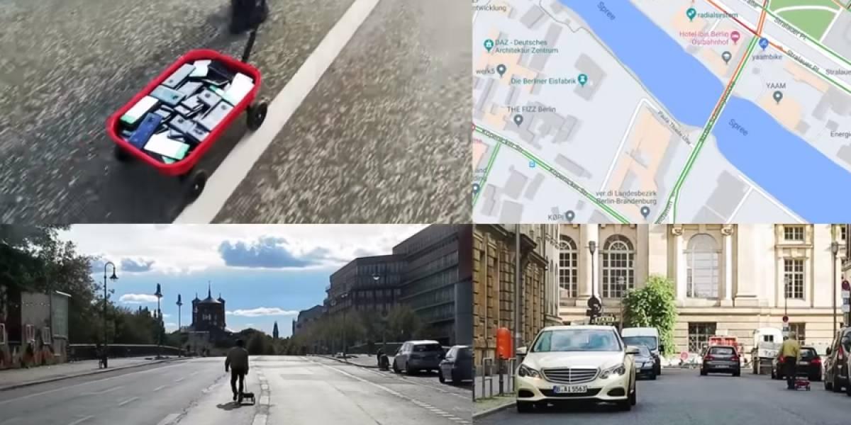 Artista hackea Google Maps con un carrito para niños