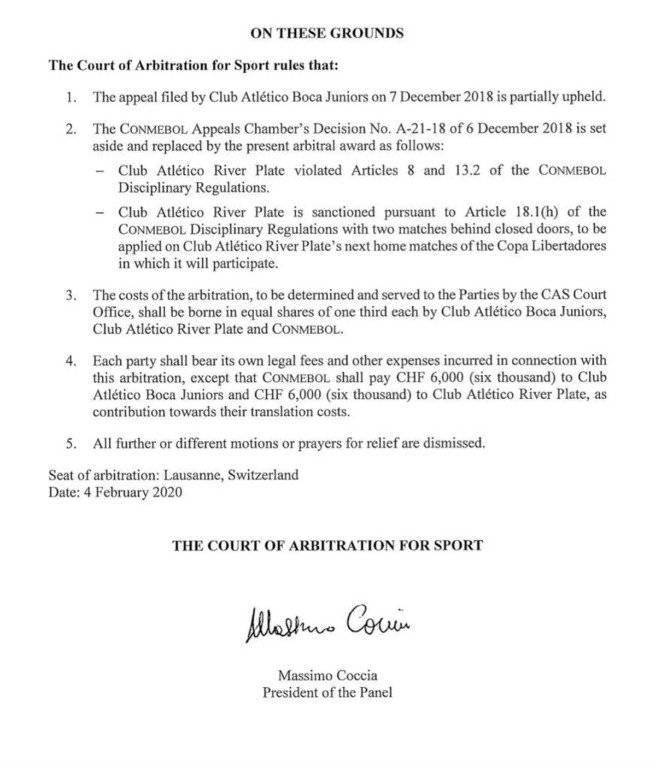TAS ratificó título de River Plate en Copa Libertadores 2018