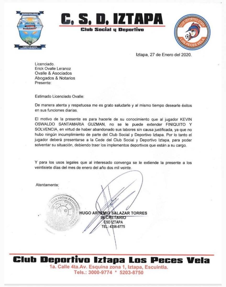 Comunicado del Deportivo Iztapa sobre Kevin Santamaría