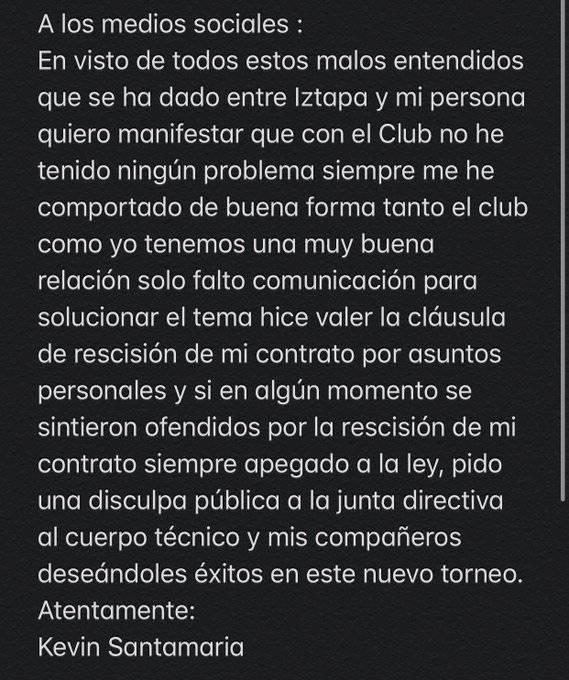 Comunicado de Kevin Santamaría