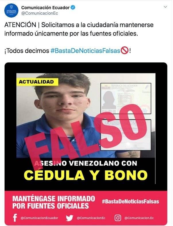 Publicación de la cuenta Comunicación Ecuador