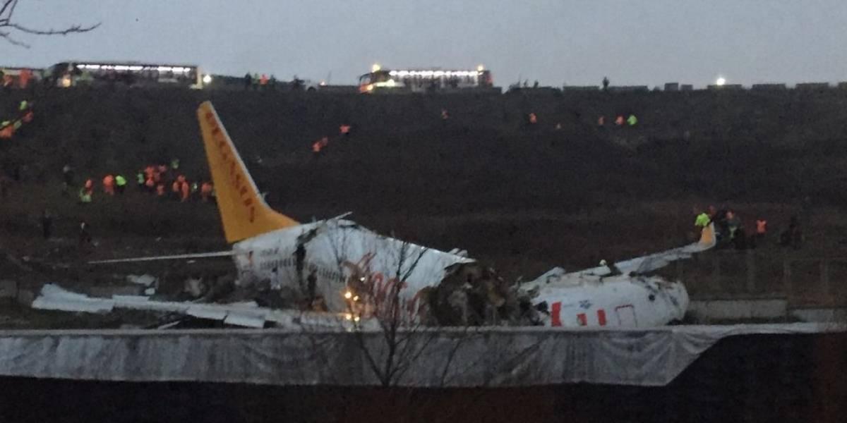 VIDEO. Avión se sale de la pista y se parte en tres en aeropuerto de Estambul