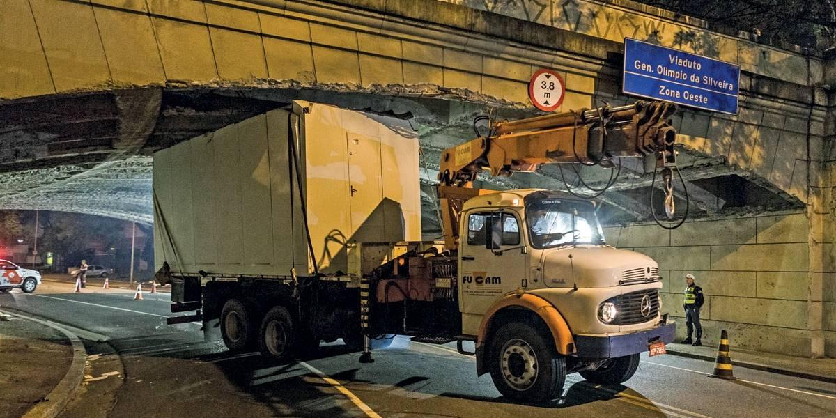 Um caminhão entala a cada 2 dias em São Paulo