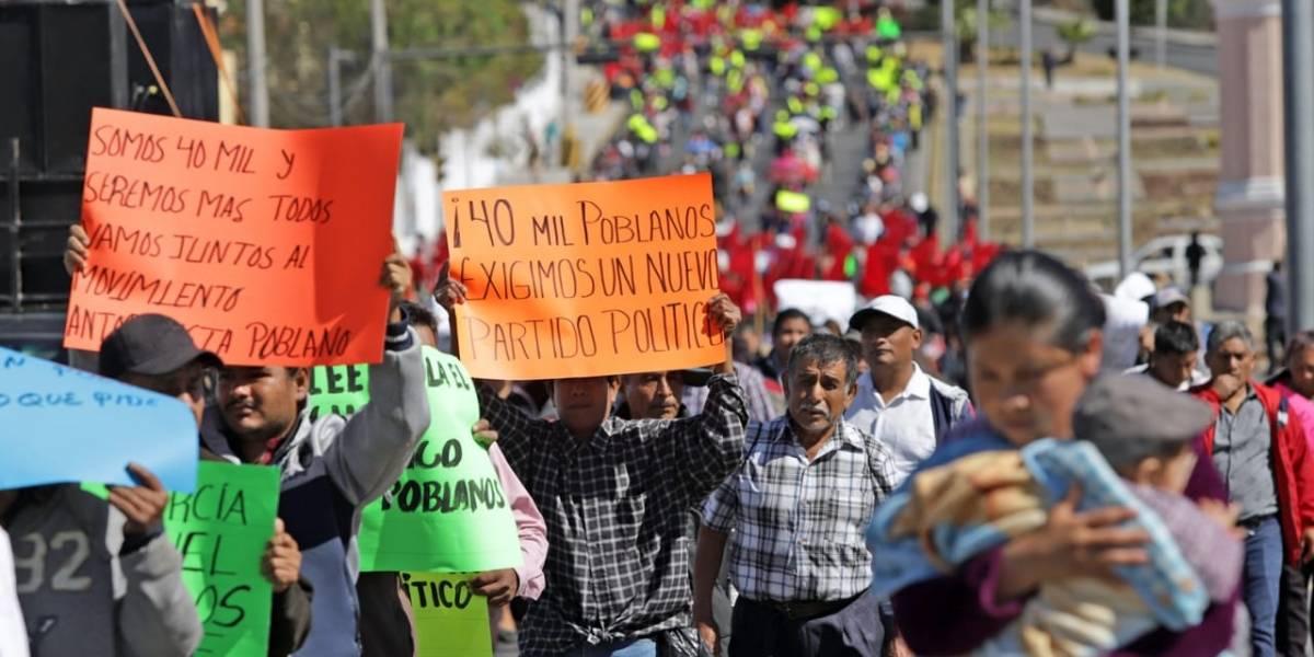 Manifestación de Antorcha Campesina genera caos vial en Puebla