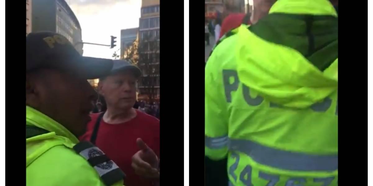 (VIDEO) Extranjero protege vendedora ambulante de policía en Bogotá