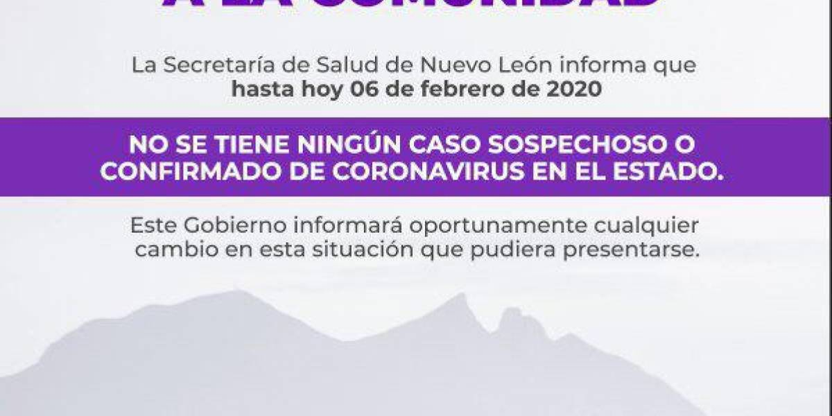 Descarta Salud caso de coronavirus en Nuevo León