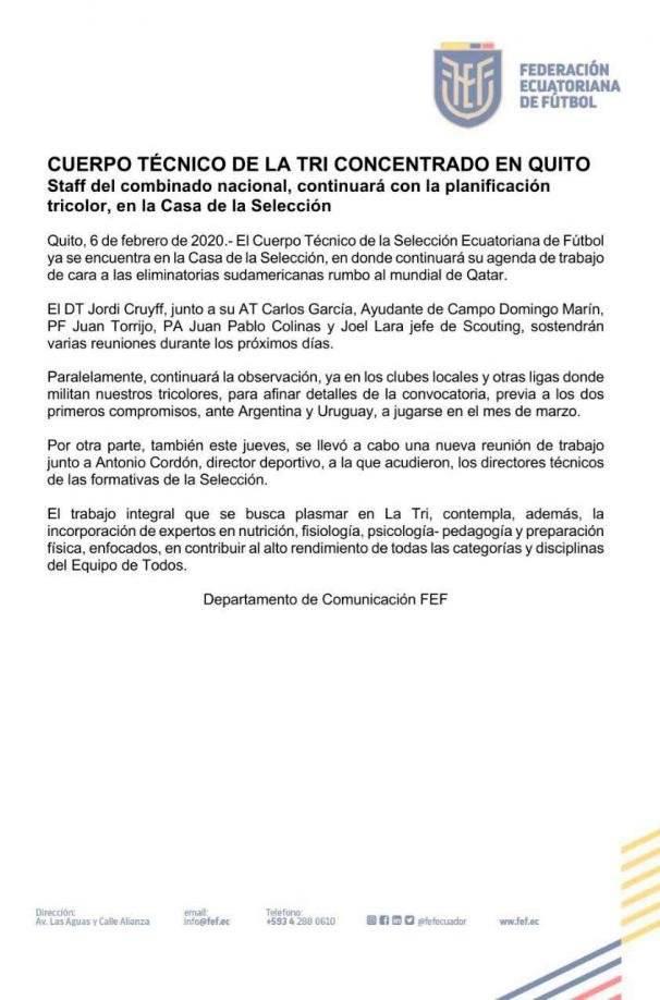 Comunicado de prensa de la FEF