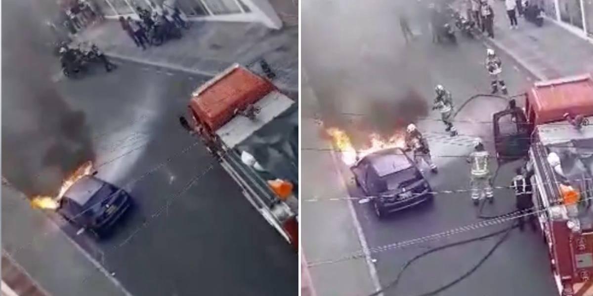 (VIDEO) Vehículo se prenden en llamas en plena vía pública