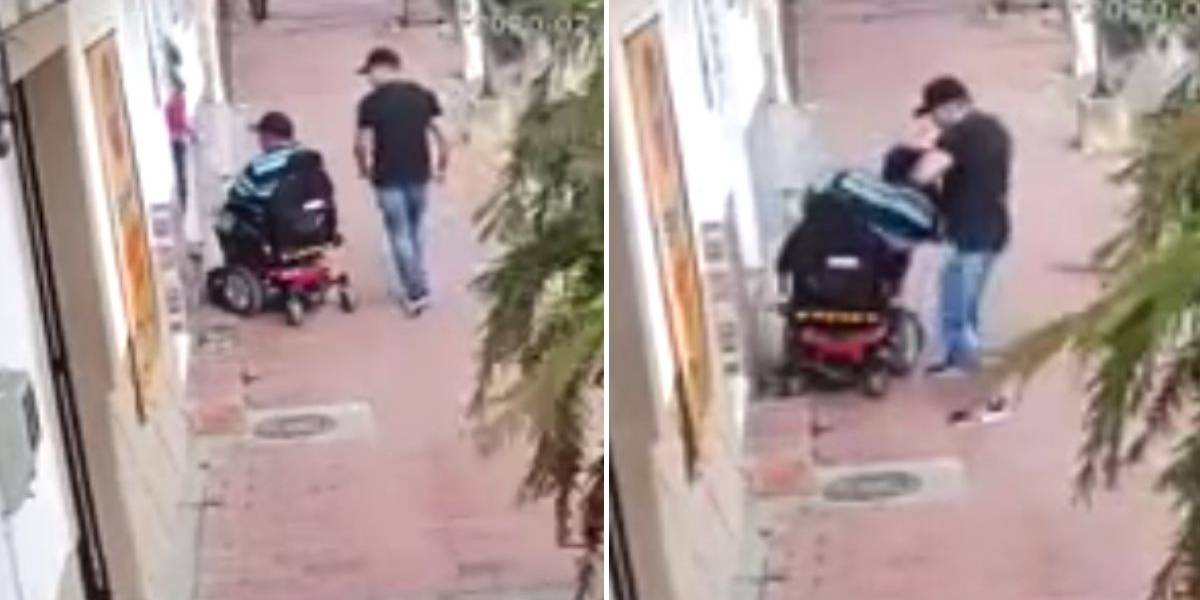 (VIDEO) Sin importarle que estaba en silla de ruedas, sujeto roba a una persona incapacitada