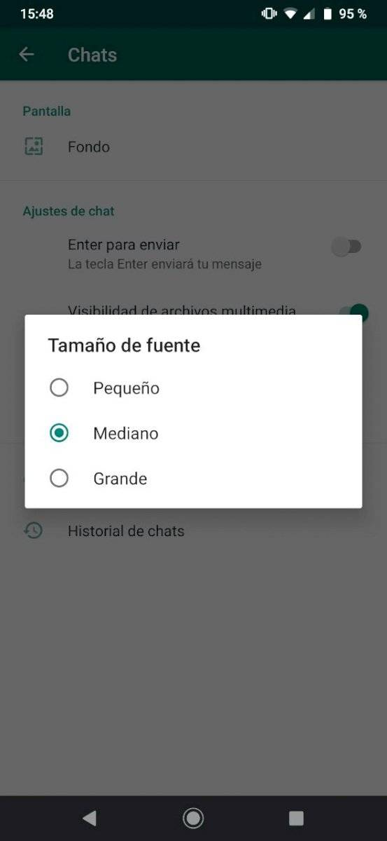 WhatsApp tamaño letras