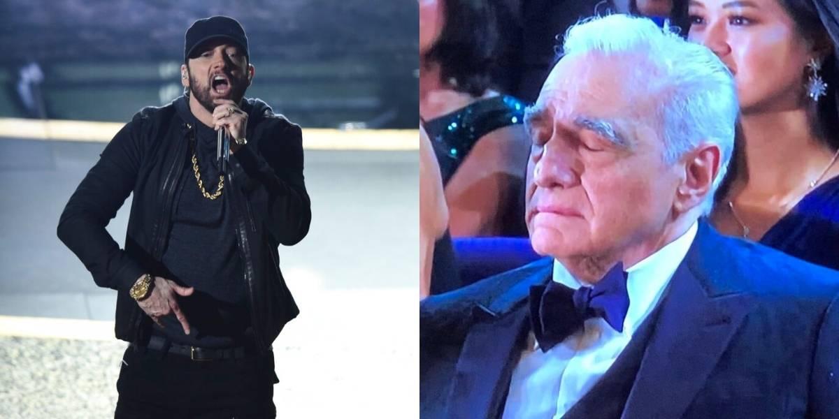Eminem sorprendió al aparecer en los Oscar y fue ovacionado de pie pero no por todos: Martin Scorsese casi se queda dormido