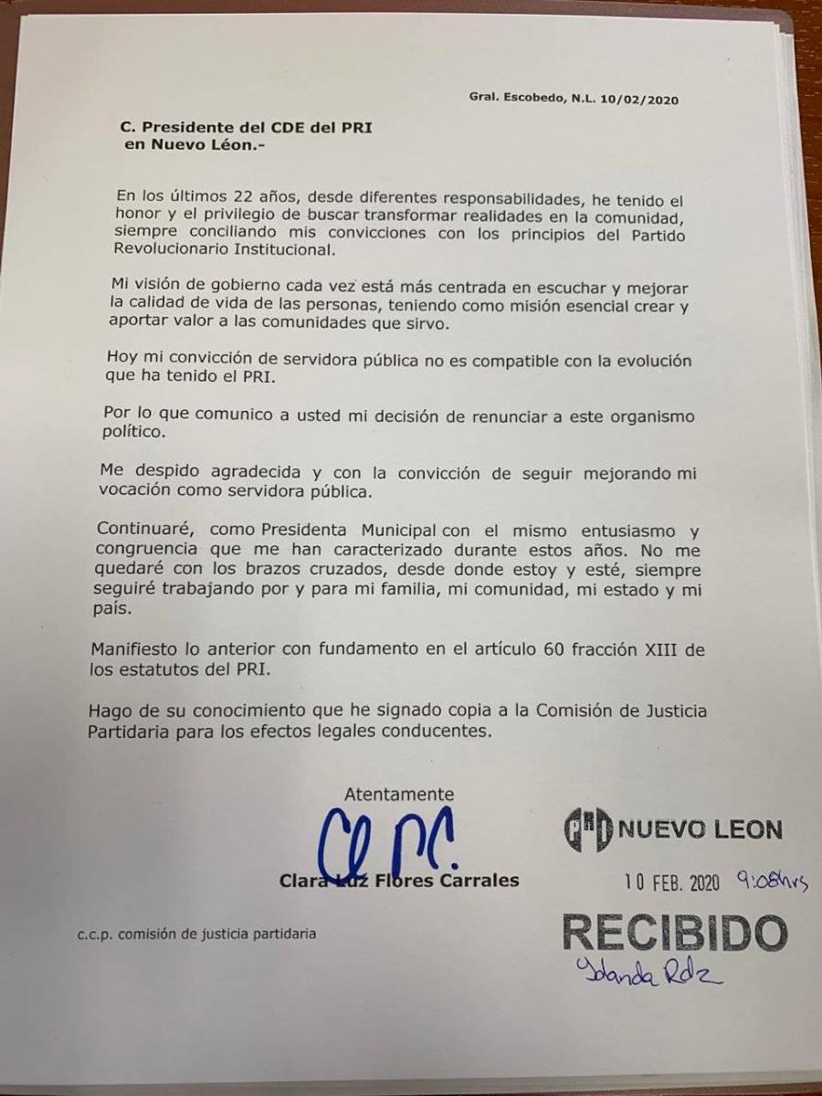 Carta de renuncia de Clara Luz Flores