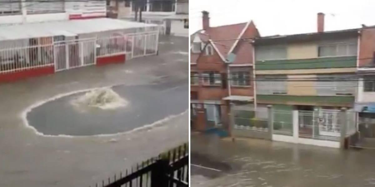 (VIDEO) Enorme daño en alcantarillado inunda las casas de barrio en Bogotá