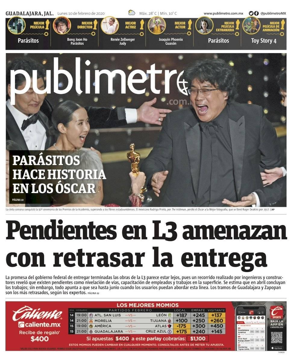 Portada de Publimetro Guadalajara del 10 de febrero de 2020