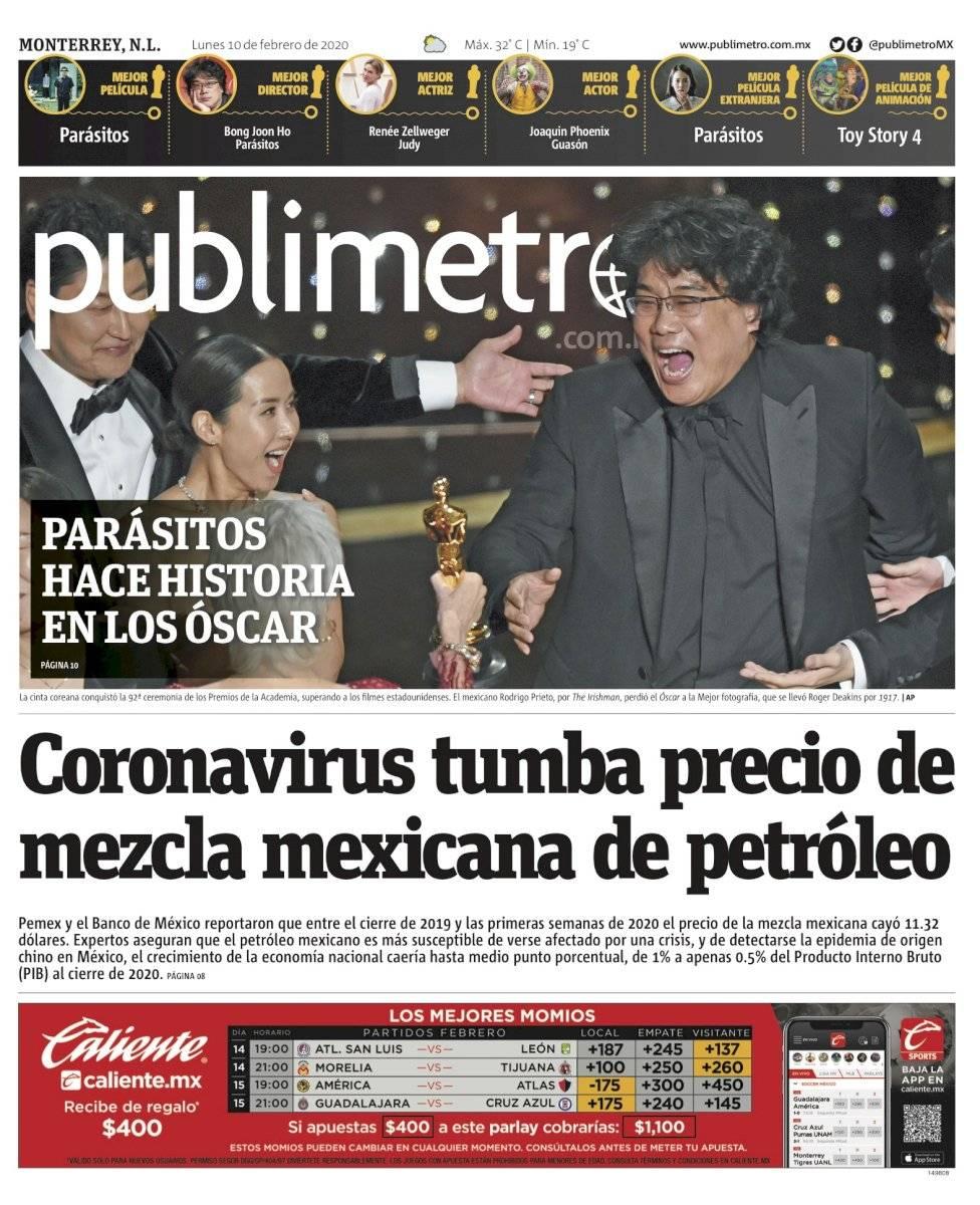 Portada de Publimetro Monterrey del 10 de febrero de 2020