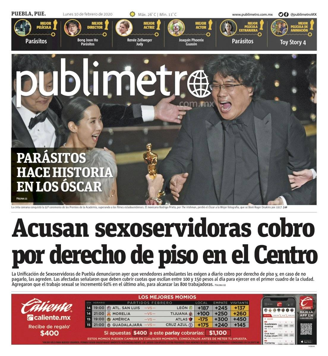 Portada de Publimetro Puebla del 10 de febrero de 2020