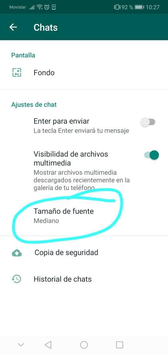 Cambiar el tamaño de letra de WhatsApp