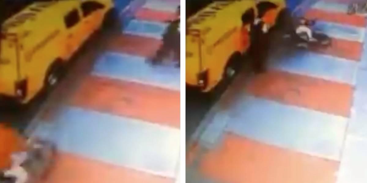 Revelan imágenes del momento en que escolta dispara a joven que chocó con su bicicleta