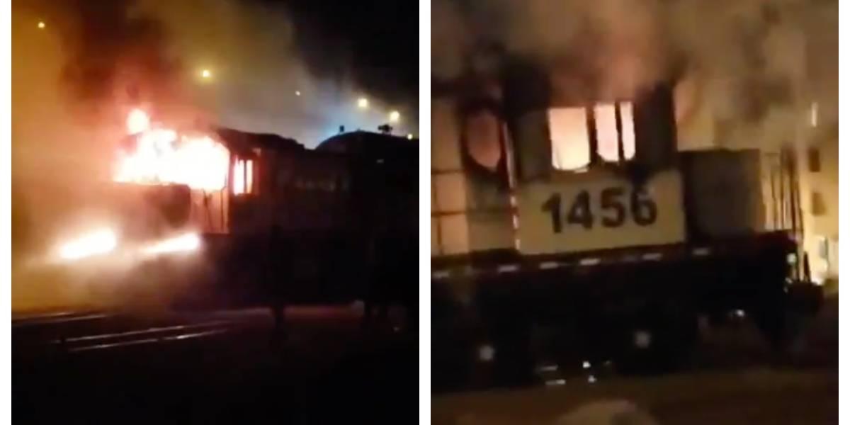 Recorrió 1.5 kilómetros en llamas por la ciudad: desconocidos atacaron e incendiaron tren en Antofagasta