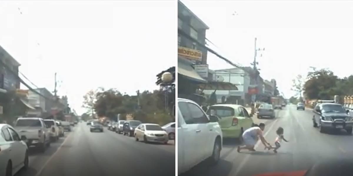 VÍDEO: Mãe se lança na estrada para salvar filha de atropelamento