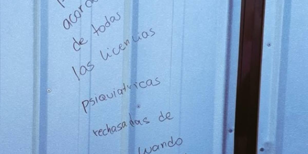 """""""¿Estos son los mensajes de agradecimiento?"""": el desgarrador rayado en Compin de Puerto Montt que indignó a las redes sociales"""
