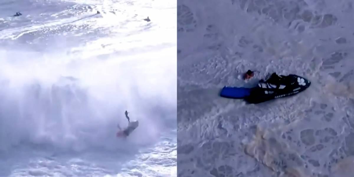 VIDEO: Surfista sufre espeluznante accidente ante una ola de 13 metros
