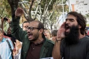 Trabajadores de prensa en manifestación
