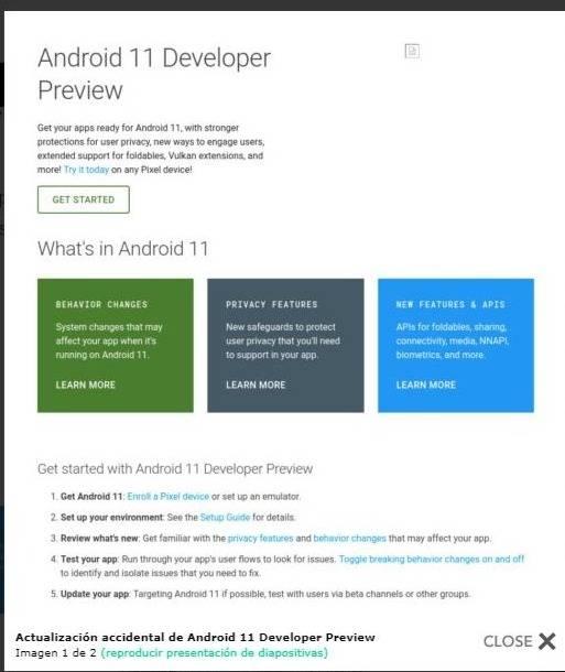 Google se equivoca y publica por accidente vista previa de Android 11