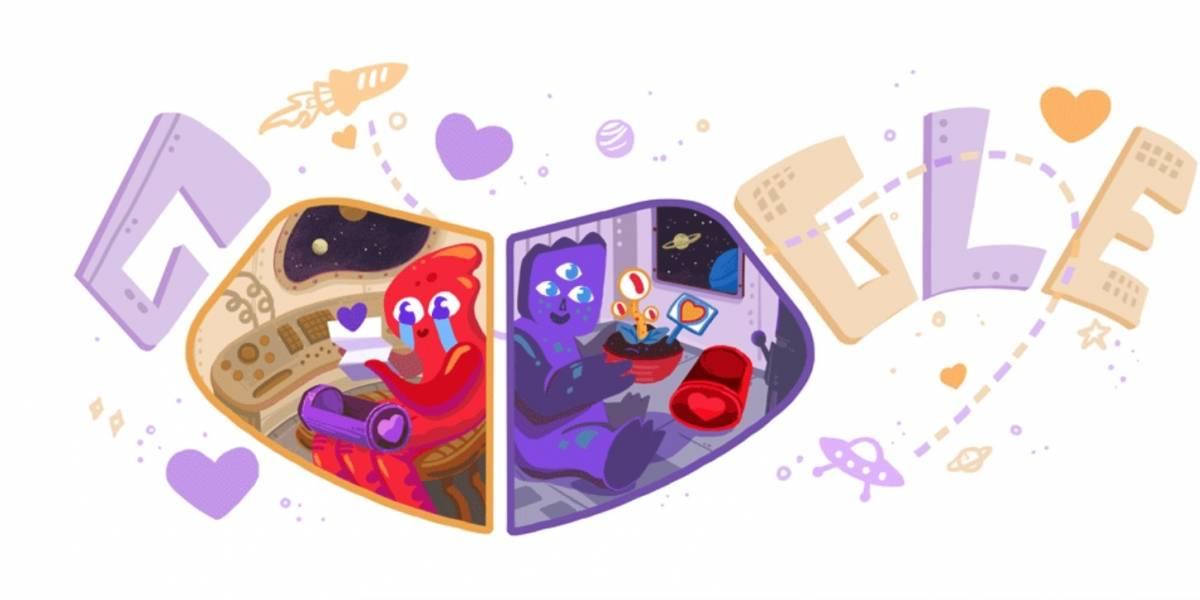 Google libera novo doodle para comemorar dia de São Valentim (Valentine's day)