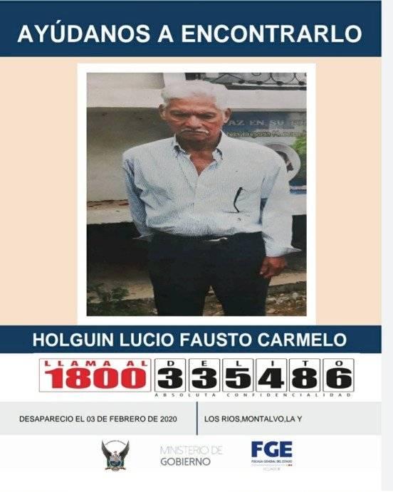 Holguín Lucio Fausto desapareció el 3 de febrero en Guayaquil