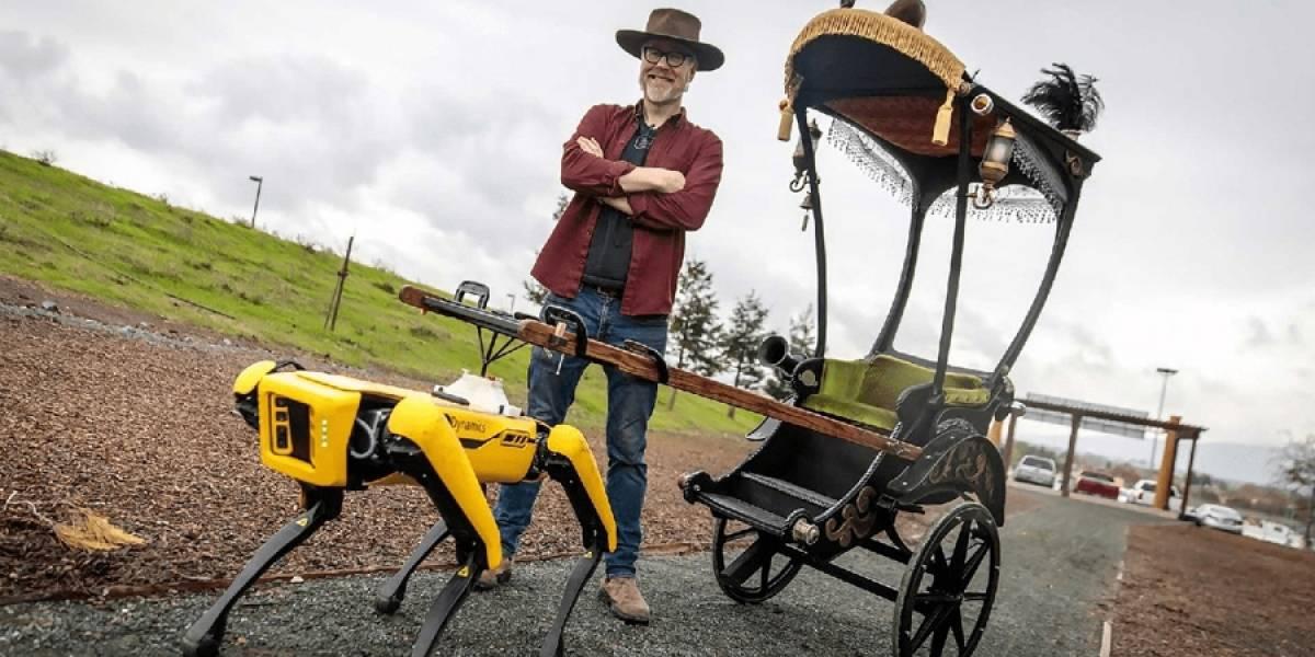 Loco de MythBusters usa a robot como caballo de carruaje