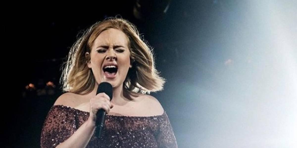 Fã flagra Adele compartilhando uma novidade sobre sua carreira