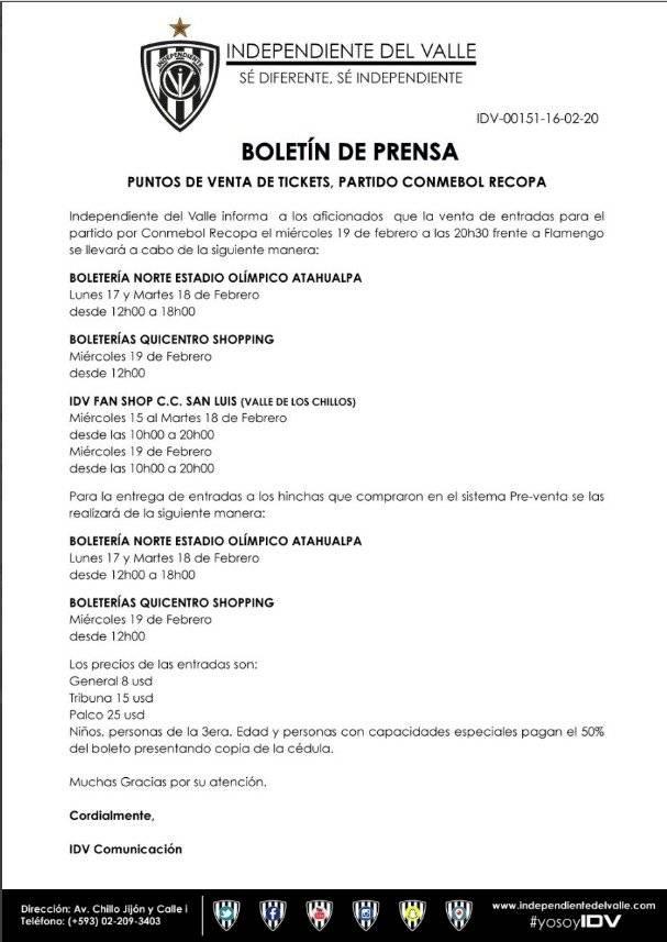 Puntos de venta y entrega de entradas para cotejo del Independiente del Valle
