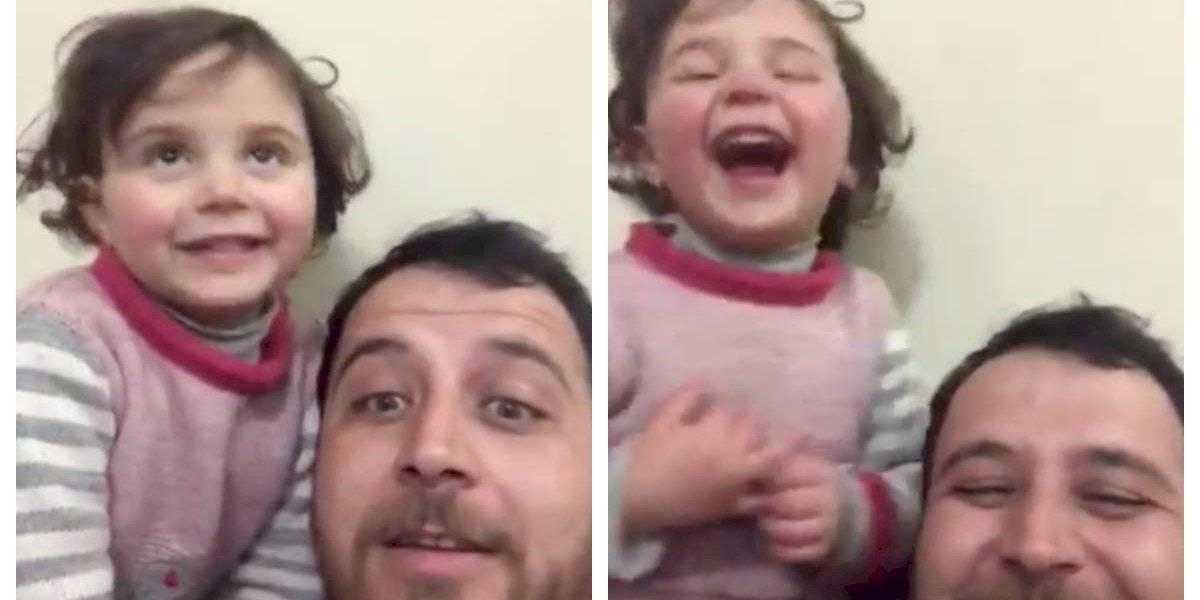 El padre que inventó un juego para hacer reír a su hija cuando caían las bombas en Siria logra escapar de la guerra junto a toda su familia