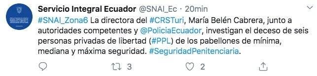Seis fallecidos por incidentes en cárcel de Turi, en Cuenca