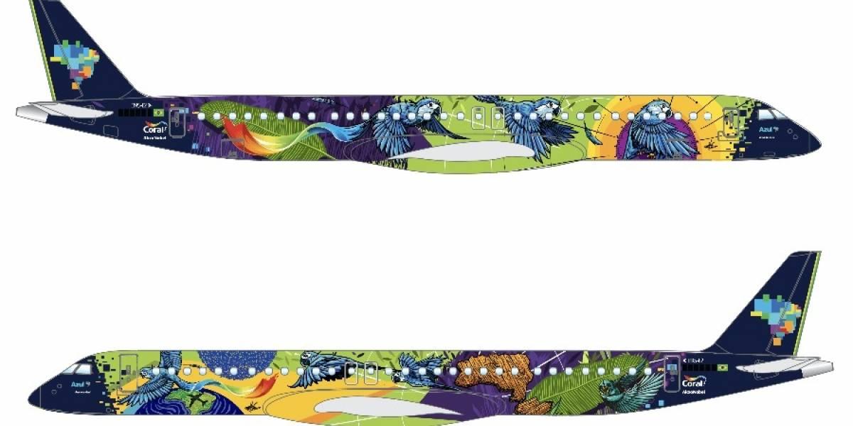 Novo avião da Azul com pintura especial vai homenagear a flora e a fauna do Brasil