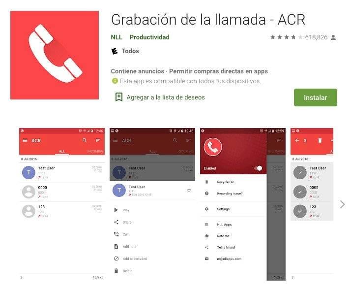 Android grabar llamadas