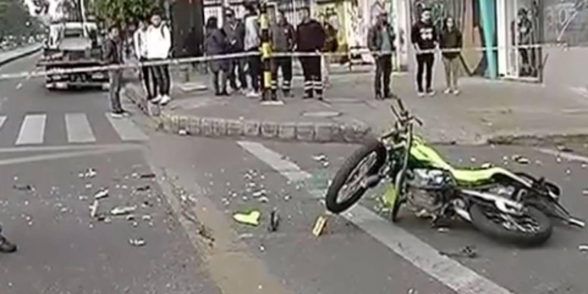 Muere Policía tras un fuerte choque en la Avenida Caracas en Bogotá