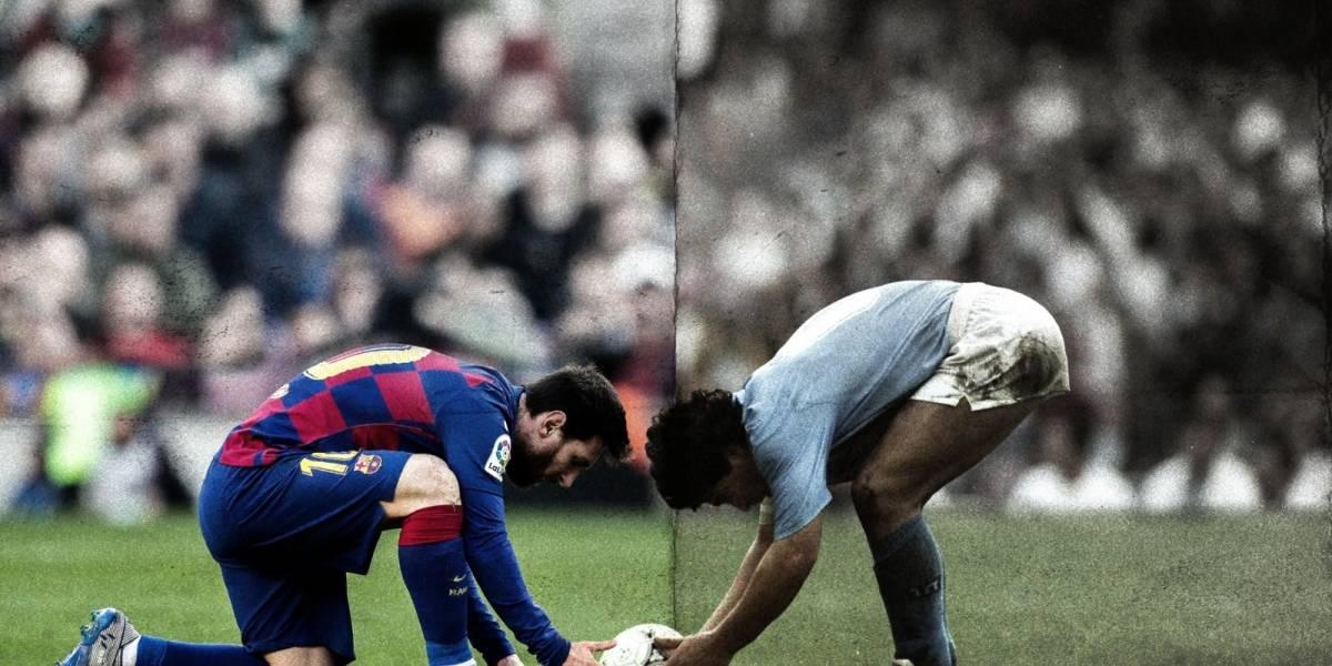 El espectacular homenaje del Barcelona a Messi y Maradona
