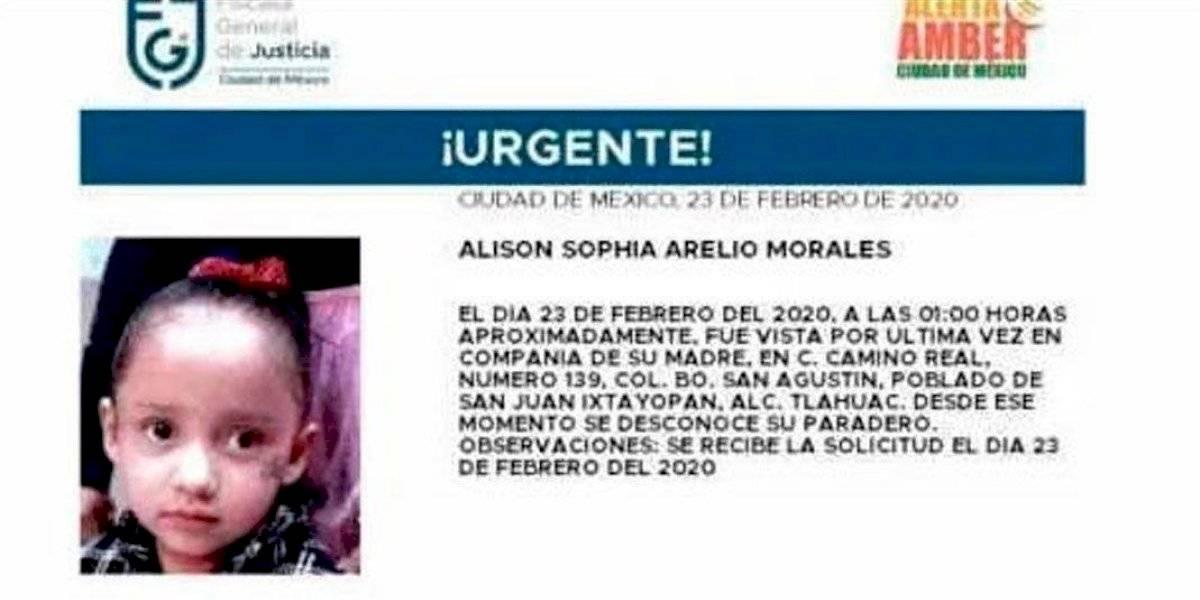 Desaparece niña de 3 años en Tláhuac; activan Alerta Amber