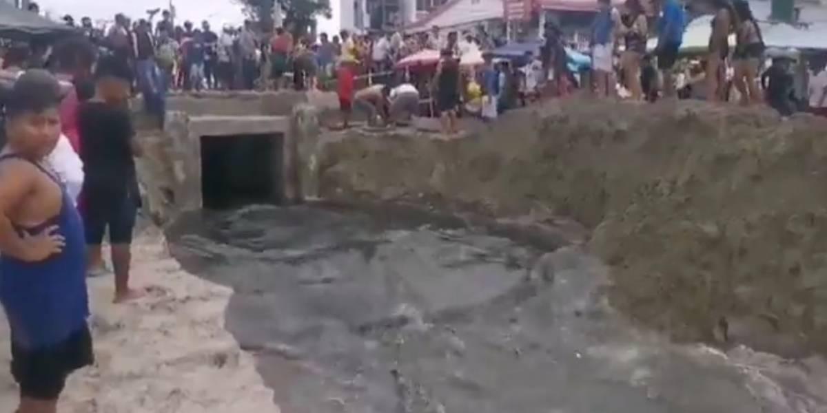 Carnaval: las aguas servidas y de la lluvia fueron enviadas al mar en Salinas (videos)