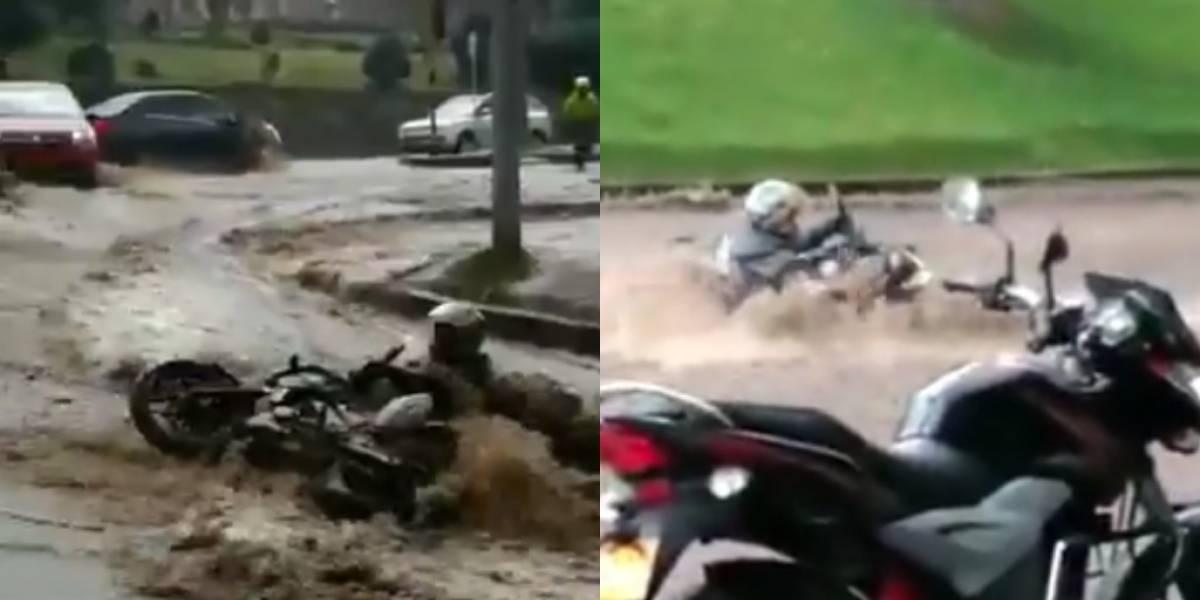 Policía rescató a motociclista en un arroyo por la Carrera Séptima