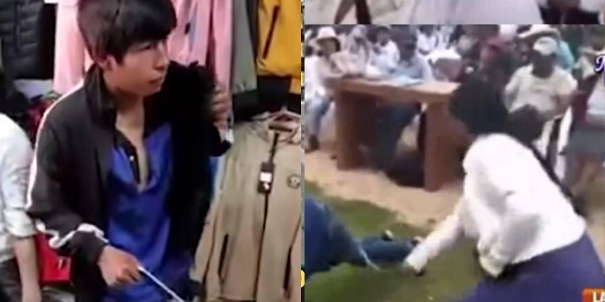 (VIDEO) Madre castigó a latigazos al descubrir a su hijo robando en centro comercial