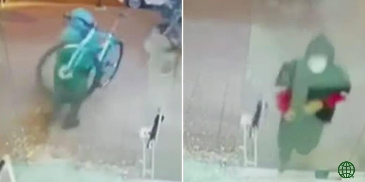 (VIDEO) En medio de torpe asalto, ladrones lograron robar varias bicicletas de local comercial en Bogotá